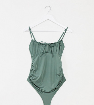 Asos DESIGN maternity ruched tie front swimsuit in khaki
