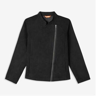 Joe Fresh Women+ Faux Suede Moto Jacket, Black (Size 3X)