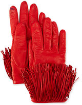 Diane von Furstenberg Leather Gloves with Fringe Trim