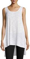 Neiman Marcus Slub-Knit Side-Slit Tank, White