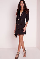 Missguided Long Sleeve Tuxedo Dress Black