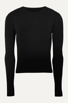 Cordova Signature Ribbed Stretch-knit Top - Black
