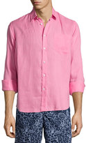Vilebrequin Linen Long-Sleeve Shirt, Pink