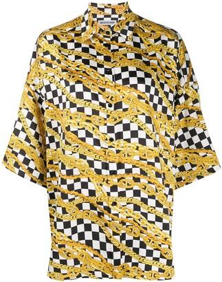 Balenciaga chain print checkered shirt
