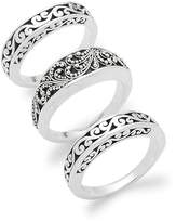 Lois Hill Women's Trio of Engraved Sterling Silver Rings