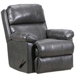 Red Barrel Studio Delsur Leather Manual Recliner Fabric: Soft Touch Granite Leather Match, Motion Type: Glider