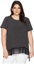 Karen Kane Plus Plus Size Asymmetric Sheer Hem Top Women's Blouse