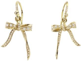 Irene Neuwirth Diamond Bow Yellow Gold Drop Earrings