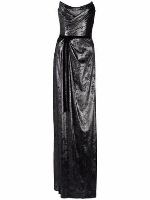 Marchesa Notte Metallic Lame Gown
