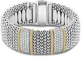 Lagos 18K Gold & Sterling Silver Diamond Lux Double Station Bracelet, 23mm