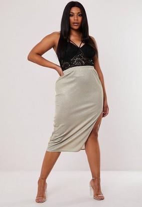 Missguided Plus Size Silver Glitter Slip Skirt