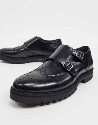 Silver Street chunky leather double monk brogues in black box