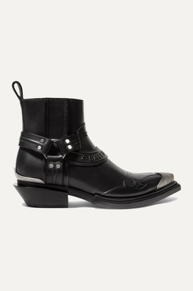 Balenciaga Santiag Leather Ankle Boots - Black