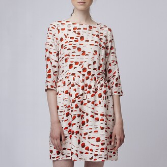 Graphic Print Shift Dress with Long Sleeves