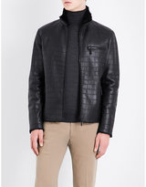 Armani Collezioni Crocodile-embossed shearling and leather jacket