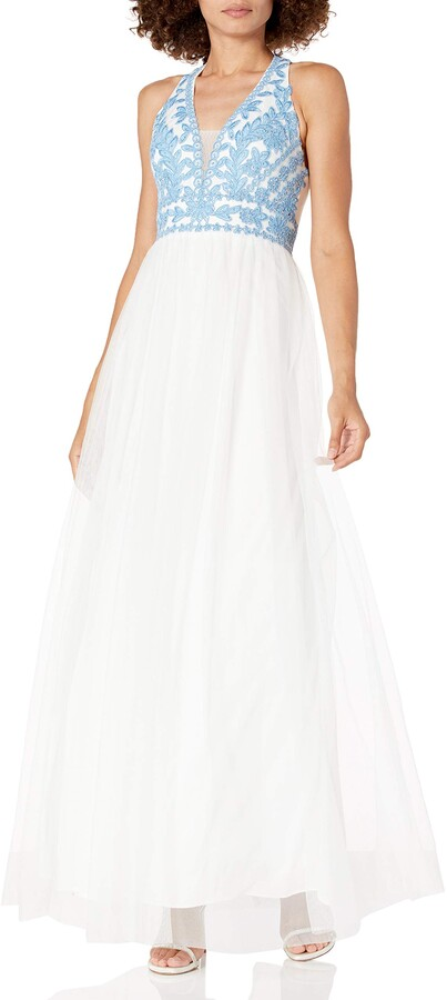 Thumbnail for your product : Blondie Nites Women's Long v Neck Ballgown with Emroidered Bodice