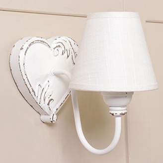 Rustic Heart White Wooden Wall Light with Linen Shade (W589)