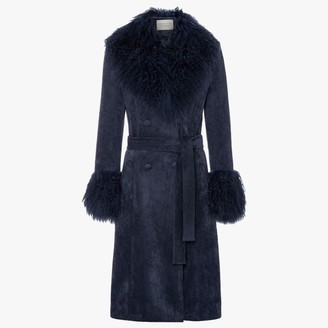 CHARLOTTE SIMONE Penny Navy Suedette Mongolian Trim 70s Long Line Jacket