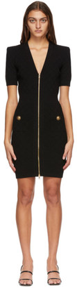 Balmain Black Front Zip Dress