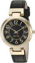 Nine West Women's NW/1908BKBK Easy to Read Gold-Tone and Black Strap Watch