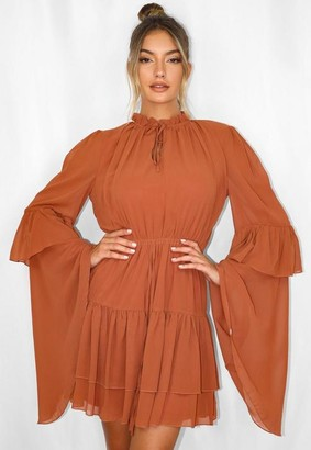 Missguided Rust Key Hole Flutter Sleeve Smock Dress