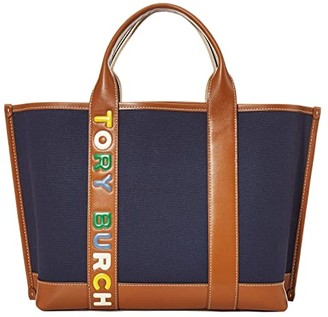 Tory Burch Perry Multi Stripe Canvas Triple-Compartment Tote (Royal Navy) Handbags