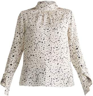 Paisie Ink Print Blouse With Sleeve Detail In Ivory & Black