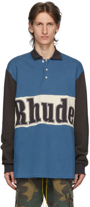 Rhude Blue Logo Rugby Long Sleeve Polo