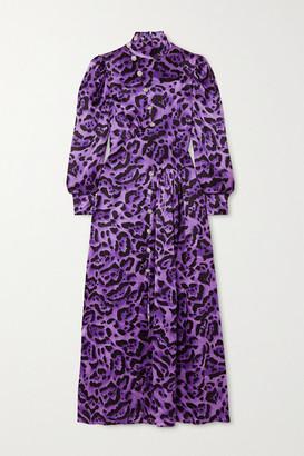 Alessandra Rich Crystal-embellished Leopard-print Silk-satin Midi Dress