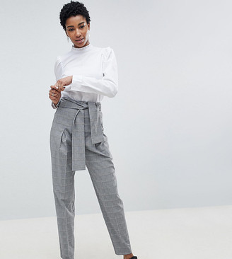 Asos Tall DESIGN Tall tailored tapered check trouser with obi self tie and exposed zip-Multi