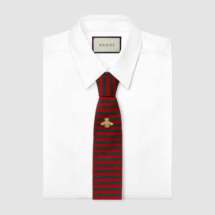 Gucci Striped wool knitted tie with bee