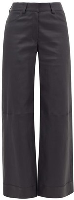 Inès & Marèchal Leather Wide-leg Trousers - Womens - Navy