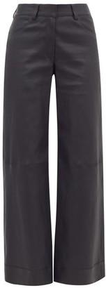 Inès & Marèchal Leather Wide-leg Trousers - Womens - Navy