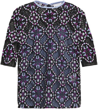 Sandro Embroidered Cotton-poplin Paneled Guipure Lace Top