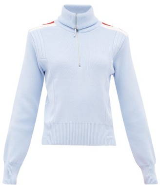 Cordova High-neck Ribbed-knit Wool Sweater - Womens - Light Blue