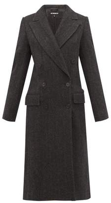 Ann Demeulemeester Double-breasted Wool-herringbone Coat - Womens - Black Grey