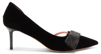 Rochas Crystal-strap Point-toe Velvet D'orsay Pumps - Black
