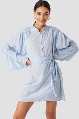NA-KD Gathered Sleeve Tied Waist Striped Shirt Blue