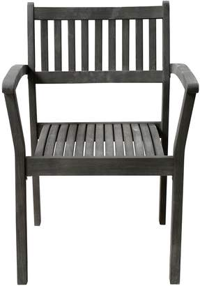 Vifah Renaissance 2-Piece Outdoor Patio Hand-scraped Wood Stacking Armchair