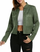 Zeagoo Women's Faux Suede Open Front Slim Short Casual Moto Biker Jacket