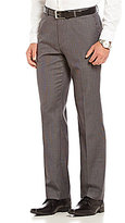 Calvin Klein Straight-Fit Flat-Front Micro-Check Pants