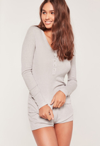 Missguided Ribbed L/S Top and Shorts Pj Set Grey