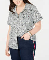 Size Printed Camp Plus Shirt Cotton 76fyImgYbv