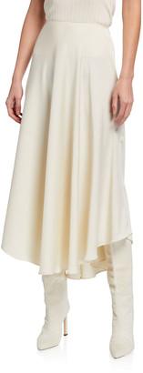 Sally LaPointe Satin Handkerchief Midi Skirt