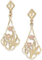 Macy's Two-Tone Floral Filigree Drop Earrings in 14k Gold and Rose Gold