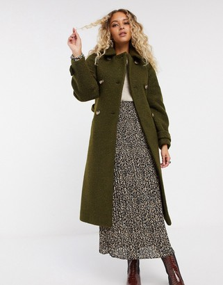 Topshop boucle trench coat in khaki