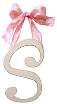 New Arrivals Wooden Letter S with Polka Dot Ribbon, Cream