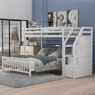 EUROCO Wood Stairway Twin Loft Bed with Full Platform Bed With 3 Storage Drawers In The Steps