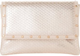 Dune Bairo metallic reptile-effect leather clutch bag
