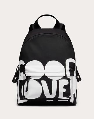 Valentino Garavani Uomo Lovers Language Nylon Backpack Man Black/white Polyester 51%, Polyamide 49% OneSize